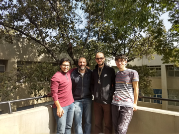 External Fellow Isaac Perez Castillo (second from left) with his students: Rafael Diaz Hernandez Rojas, Rogelio Oscar Caballero Perez, and Christopher Sebastian Hidalgo Calva (from left to right).